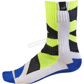 Fox Youth White/Yellow MX Creo Socks - 17813-214-S