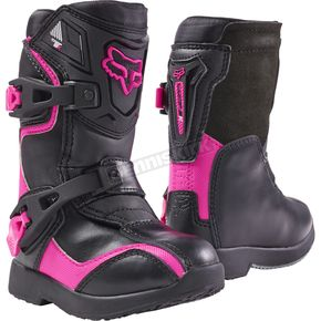 Fox PeeWee Black/Pink Comp 5K Boots - 05014-285-11