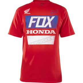 Fox Red Honda Distressed Basic T-Shirt - 18985-003-2X