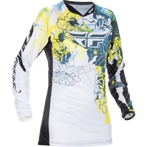 Fly Racing Youth Girl's Teal/Yellow Kinetic Jersey - 370-628YS