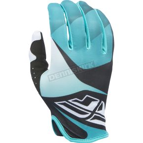 Fly Racing Black/White/Teal Lite Gloves - 370-01012