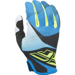 Fly Racing Youth Blue/Black/Hi-Vis Lite Gloves - 370-01105