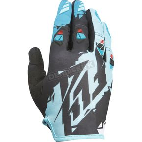 Fly Racing Youth Black/Dark Teal Kinetic Gloves - 370-41004