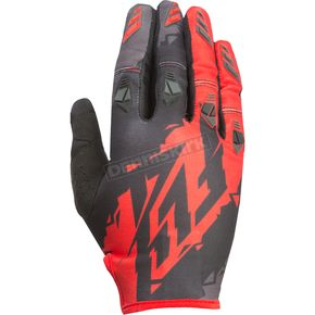 Fly Racing Youth Black/Red Kinetic Gloves - 370-41205