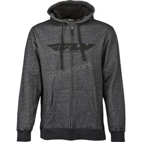 Fly Racing Black Denim Corporate Zip Up Hoody - 354-0191M