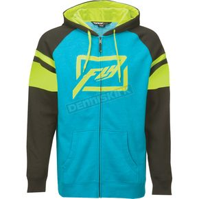 Fly Racing Blue/Hi-Vis Threshold Zip Up Hoody - 354-6271S