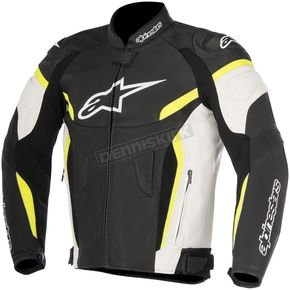 Alpinestars Black/White/Fluorescent Yellow GP Plus R v2 Airflow Leather Jacket - 3100617-125-52