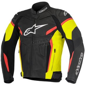 Alpinestars Black/Yellow/Fluorescent Red GP Plus R v2 Leather Jacket - 3100517-1538-58