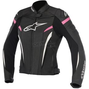 Alpinestars Womens Black/White/Fuchsia Stella GP Plus R v2 Leather Jacket - 3110517-1039-50