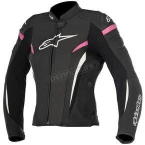 Alpinestars Womens Black/White/Fuchsia Stella GP Plus R v2 Airflow Leather Jacket - 3110617-1039-48
