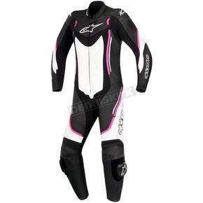 Alpinestars Women's Black/White/Pink Stella Motegi One-Piece Riding Suit - 3181017-1239-48