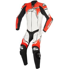Alpinestars White/Black/Flo Red GP Plus 1-Piece Leather Racing Suit - 3150518-233-60