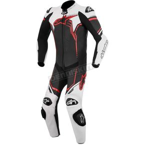 Black/White/Red GP Plus 1-Piece Leather Racing Suit