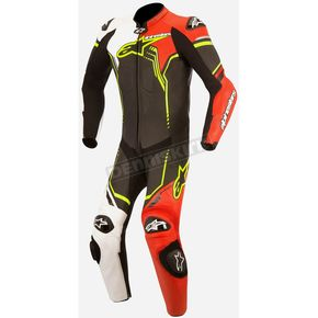 Alpinestars Black/White/Flo Red/GP Plus 1-Piece Leather Suit v2 - 3150518-1236-52