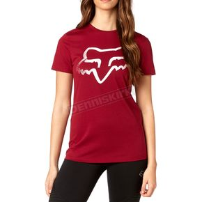 Fox Women's Dark Red Cerain Crew T-Shirt - 19667-208-XS