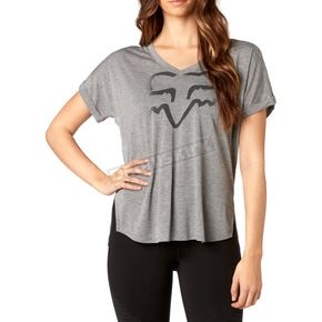 Fox Women's Heather Gray Responded V-Neck T-Shirt - 19673-040-XL
