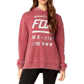 Fox Women's Dark Red Drafter Pullover Hoody - 19641-208-S