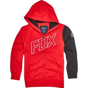 Fox Youth Dark Red Moto Vation  Zip Hoody - 19795-208-YS