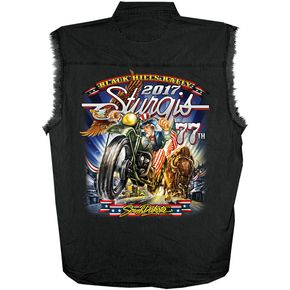 Hot Leathers Black 2017 Sturgis Uncle Sam Racer Sleeveless Denim Shirt - SPM5585L