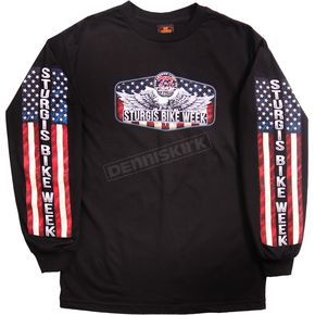 Hot Leathers Black 2017 Sturgis USA Downwing Long Sleeve Shirt - SPM2611L