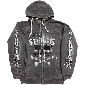 Hot Leathers Charcoal 2017 Sturgis Flag Skull Acid Wash Zip Hoody - SPM4631M