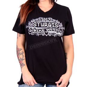 Hot Leathers Women's Black 2017 Sturgis Chalk Angel Wings T-Shirt - SPL1424L