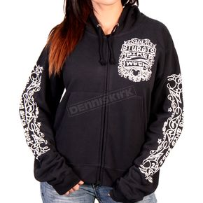 Hot Leathers Women's Black 2017 Sturgis Chalk Angel Wings Zip Hoody - SPL4424XXL