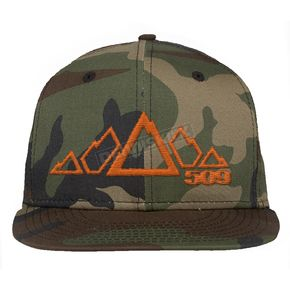 509 Orange Camo 5 Peak Snapback Hat - 509-HAT-5POC