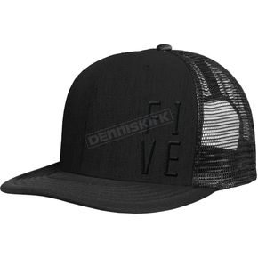 509 Black Five Mesh Snapback Hat - 509-HAT-FMB