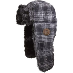 509 Black Plaid Trapper Fur Hat - 509-HAT-FTB