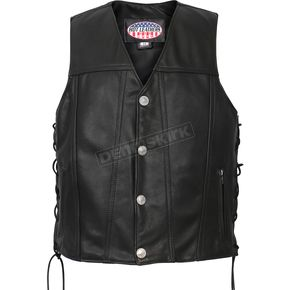 Hot Leathers USA Made Buffalo Nickel Snap Premium Leather Vest - VSM5005M