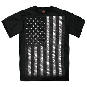 Hot Leathers Black Jumbo Black and White Flag T-Shirt - GMS1334M