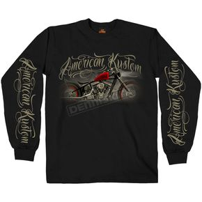 Hot Leathers Black American Kustom Long Sleeve Shirt - GMS2395L