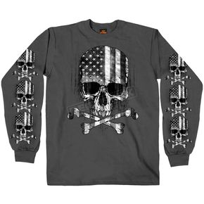 Hot Leathers Charcoal Flag Skull Long Sleeve T-Shirt - GMS2391M