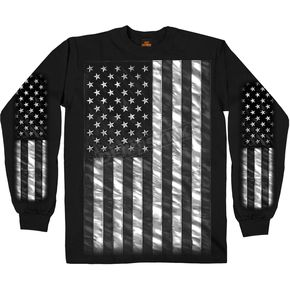 Hot Leathers Black American Flag Long Sleeve T-Shirt - GMS2393XL