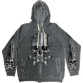 Hot Leathers Charcoal Flag Skull Hoody - GMZ4391M