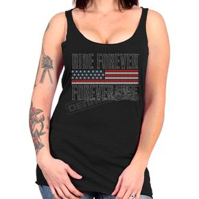 Hot Leathers Women's Black Flag Bling Tank Top - GLC2443L