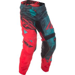 Fly Racing Teal/Red/Black Crux Kinetic Mesh Pants - 371-33836
