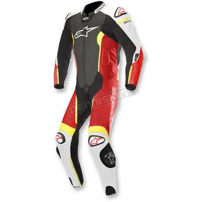 Black/White/Flo Red/Flo Yellow Missile 1-Piece Leather Suit