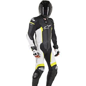 Black/White/Flo Yellow Missile 1-Piece Leather Suit
