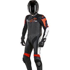 Alpinestars Black/White/Flo Red Challenger 1-Piece Leather Suit v2 - 3150617-1231-50