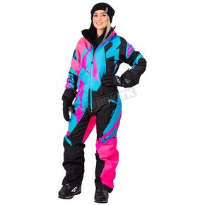 FXR Racing Women's Electric Pink/Black/Aqua CX Lite Monosuit - 182900-9410-14