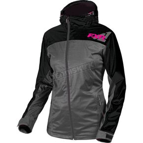 FXR Racing Women's Gray Heather/Fuchsia  Diamond Dual-Laminate Jacet - 181004-0790-12