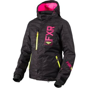FXR Racing Women's Black Cascade/Hi-Vis/Electric Pink Fresh Jacket - 180206-1094-14