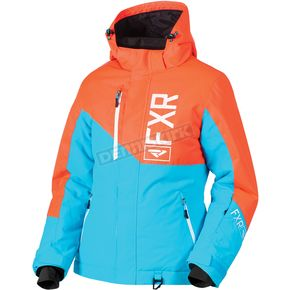 FXR Racing Women's Aqua/Electric Tangerine Fresh Jacket - 180206-5035-18