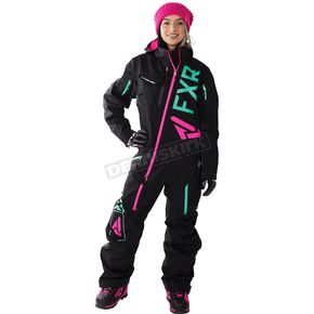 FXR Racing Women's Black/Electric Pink/Mint Ranger Instinct Lite Monosuit - 182903-1052-12