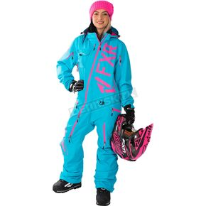 FXR Racing Women's Aqua/Electric Pink Ranger Instinct Lite Monosuit - 182903-5094-04