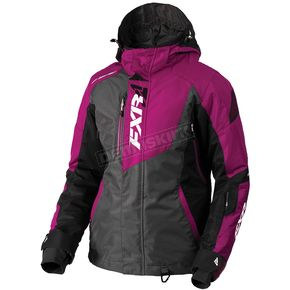 FXR Racing Women's Chacoal Tri/Wineberry Vertical Pro Jacket - 180202-0885-10
