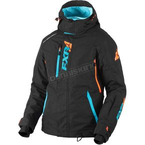 FXR Racing Women's Black/Aqua/Electric Tangerine Vertical Pro Jacket - 180202-1050-10