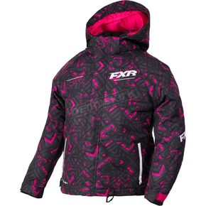 FXR Racing Youth Fuchsia Black Track/White Fresh Jacket - 180401-9010-14